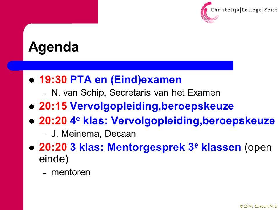 © 2010; Exacom/NvS Rien ne va plus…  Klas 4: – 12 november 2010 – 28 januari 2011 – 8 april 2011  Klas 3: – 13 mei 2011  Alle PTA onderdelen moeten gedaan zijn!.
