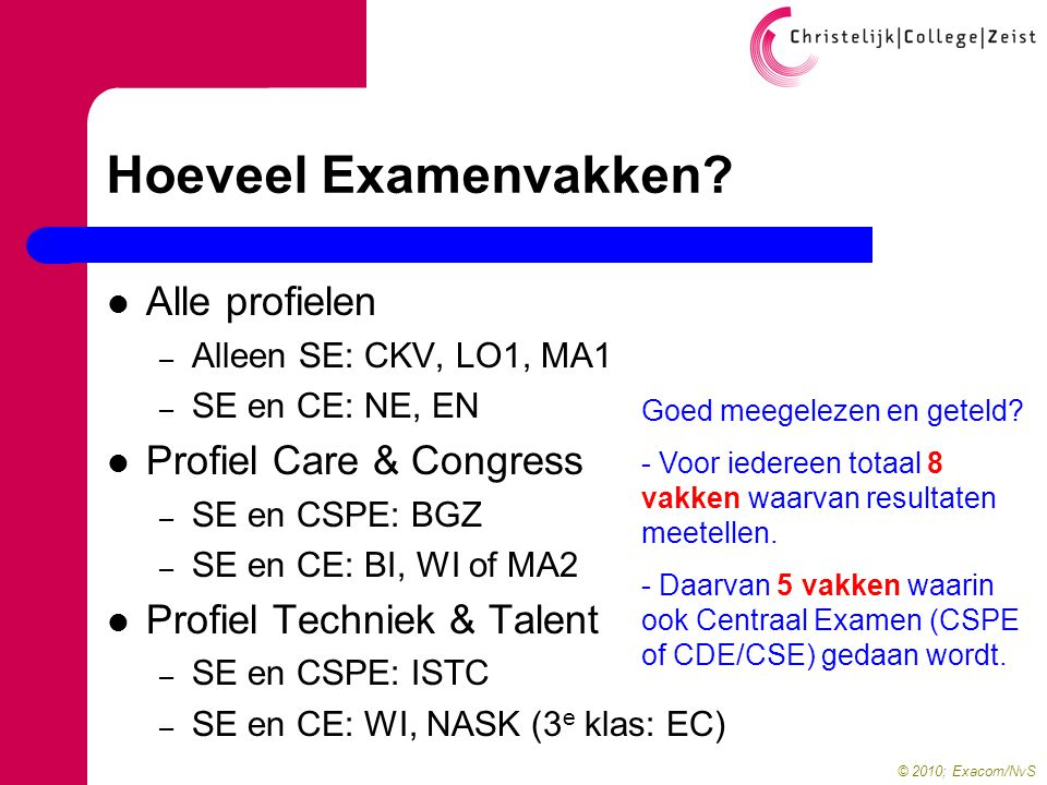 © 2010; Exacom/NvS Hoeveel Examenvakken.