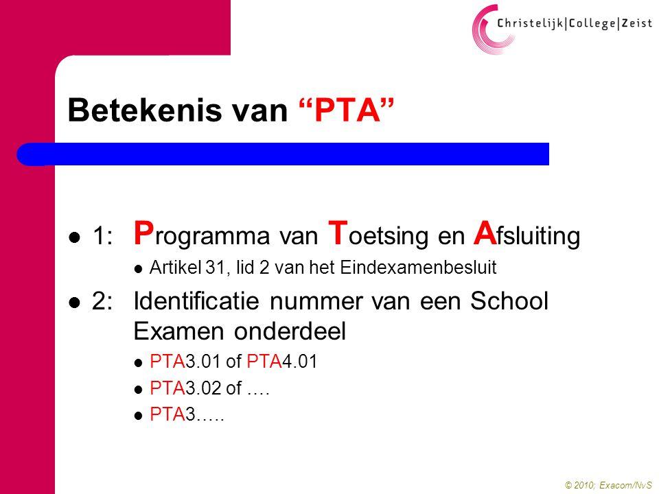 © 2010; Exacom/NvS Betekenis van PTA  1: P rogramma van T oetsing en A fsluiting  Artikel 31, lid 2 van het Eindexamenbesluit  2: Identificatie nummer van een School Examen onderdeel  PTA3.01 of PTA4.01  PTA3.02 of ….