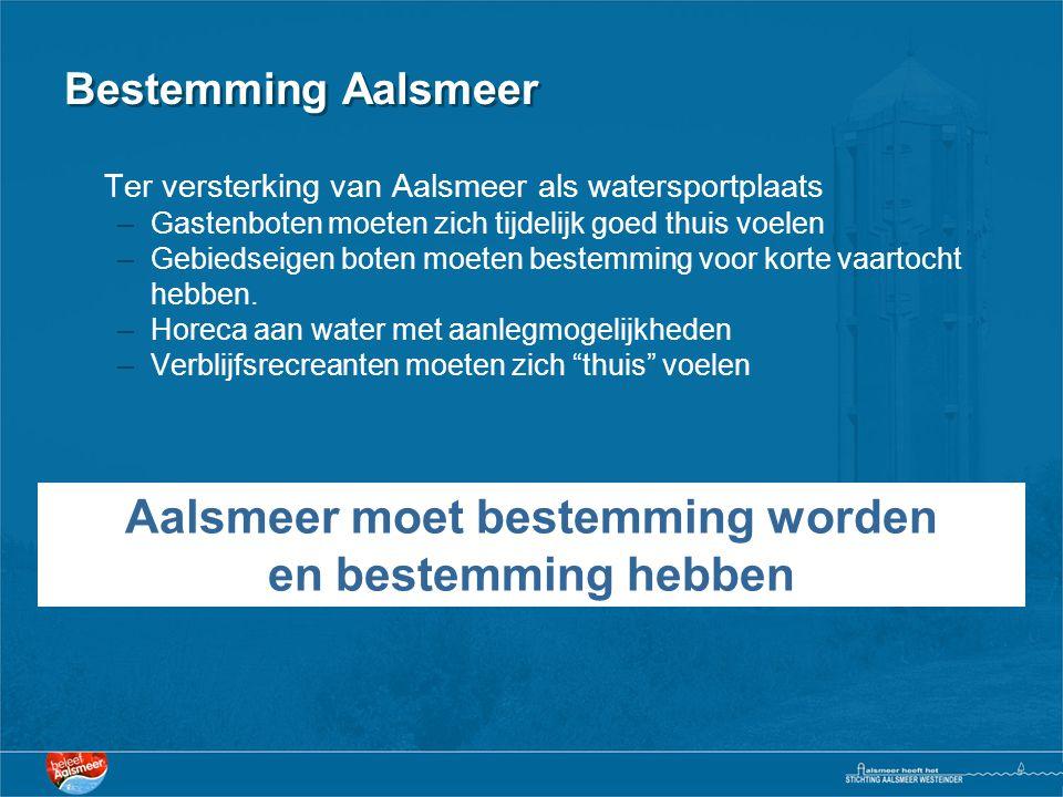 Bestemming Aalsmeer Ter versterking van Aalsmeer als watersportplaats –Gastenboten moeten zich tijdelijk goed thuis voelen –Gebiedseigen boten moeten bestemming voor korte vaartocht hebben.