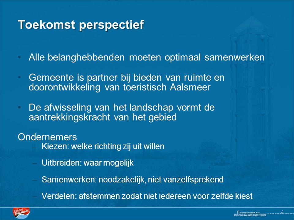 Toekomst perspectief •Alle belanghebbenden moeten optimaal samenwerken •Gemeente is partner bij bieden van ruimte en doorontwikkeling van toeristisch