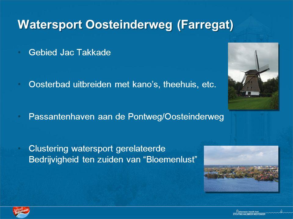 Watersport Oosteinderweg (Farregat) •Gebied Jac Takkade •Oosterbad uitbreiden met kano's, theehuis, etc. •Passantenhaven aan de Pontweg/Oosteinderweg