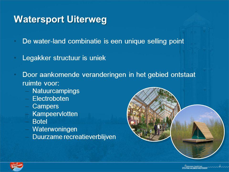 Watersport Uiterweg •De water-land combinatie is een unique selling point •Legakker structuur is uniek •Door aankomende veranderingen in het gebied on