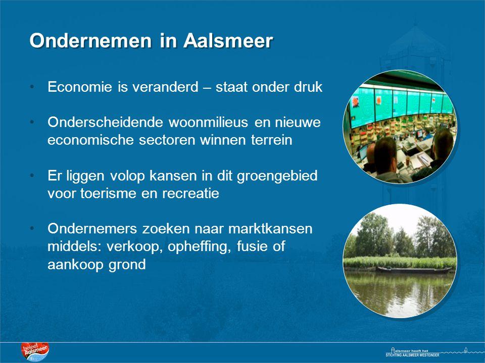 Ondernemen in Aalsmeer •Economie is veranderd – staat onder druk •Onderscheidende woonmilieus en nieuwe economische sectoren winnen terrein •Er liggen volop kansen in dit groengebied voor toerisme en recreatie •Ondernemers zoeken naar marktkansen middels: verkoop, opheffing, fusie of aankoop grond