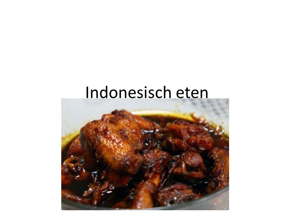 Indonesisch recept • Ajam ketjap- kip in ketjapsaus • Ingredienten: • 1 kip in stukken • 4 eetlepels ketjap manis • 1 grote ui fijn gesneden • 1 eetlepel citroen sap • 1 halve theelepel nootmuskaat • 1 halve theelepel peper • 250ml water • En zout