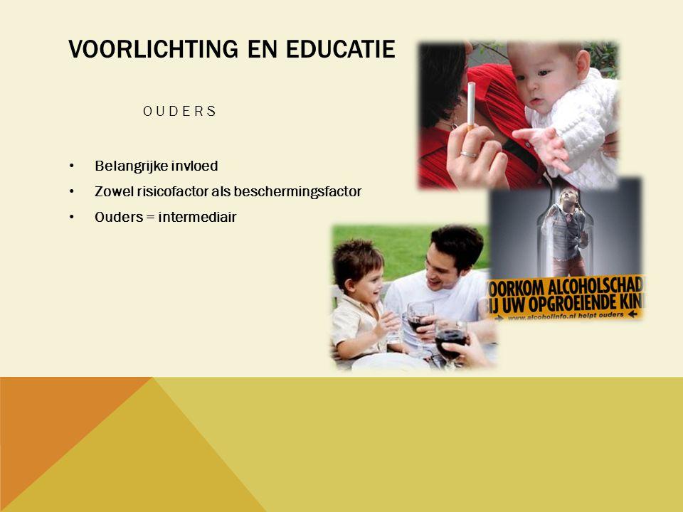 VOORLICHTING EN EDUCATIE OUDERS • Belangrijke invloed • Zowel risicofactor als beschermingsfactor • Ouders = intermediair