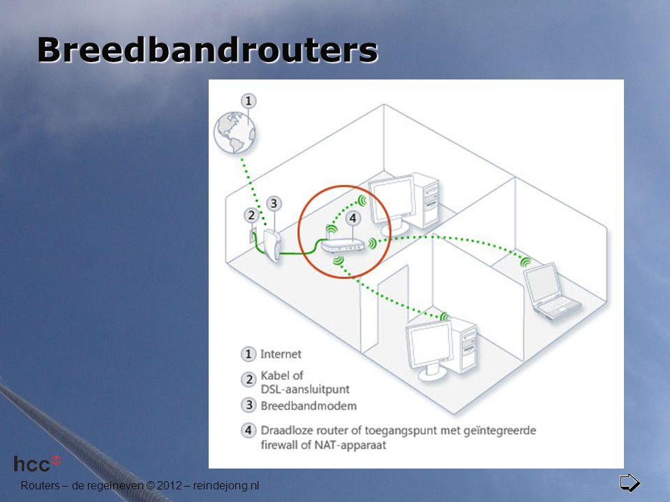 Routers – de regelneven © 2012 – reindejong.nl Breedbandrouters