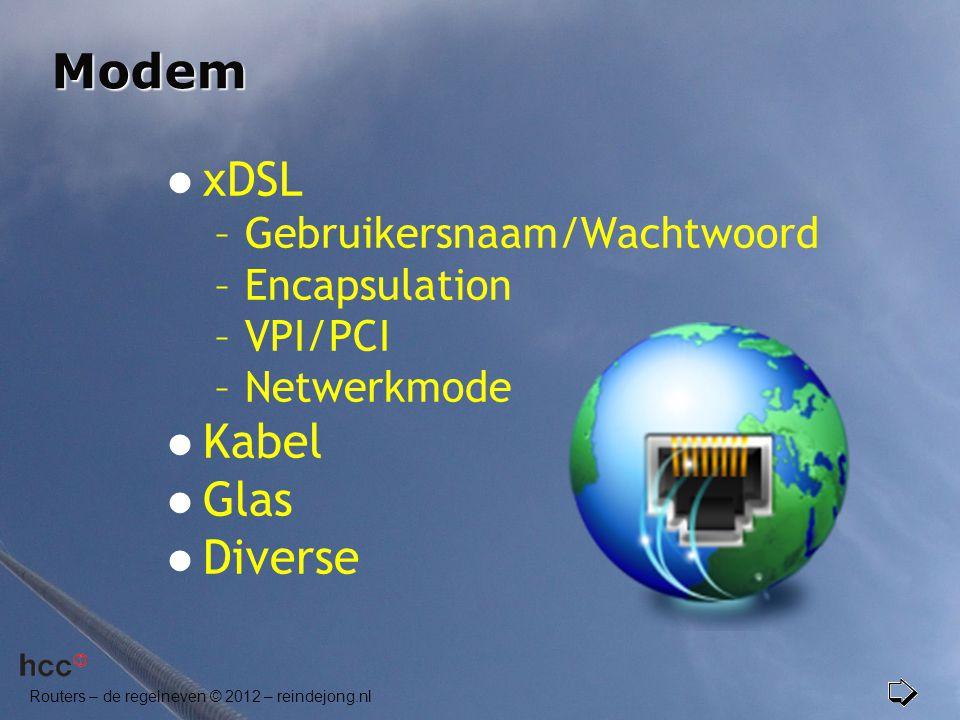 Modem  xDSL –Gebruikersnaam/Wachtwoord –Encapsulation –VPI/PCI –Netwerkmode  Kabel  Glas  Diverse