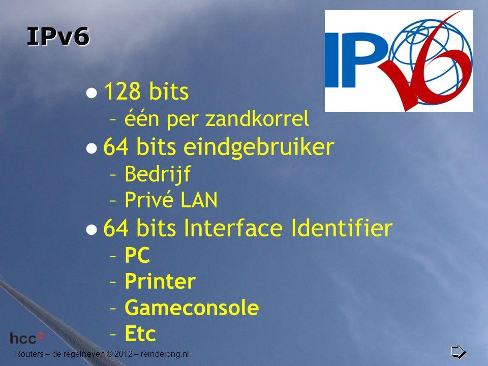 IPv6  128 bits –één per zandkorrel  64 bits eindgebruiker –Bedrijf –Privé LAN  64 bits Interface Identifier –PC –Printer –Gameconsole –Etc