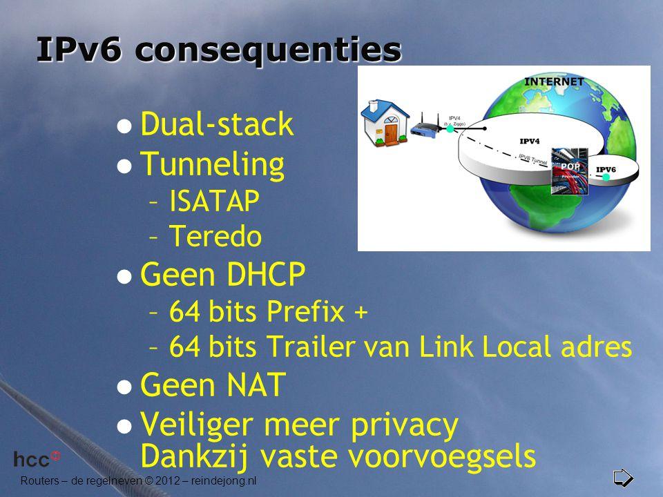 Routers – de regelneven © 2012 – reindejong.nl IPv6 consequenties  Dual-stack  Tunneling –ISATAP –Teredo  Geen DHCP –64 bits Prefix + –64 bits Trai
