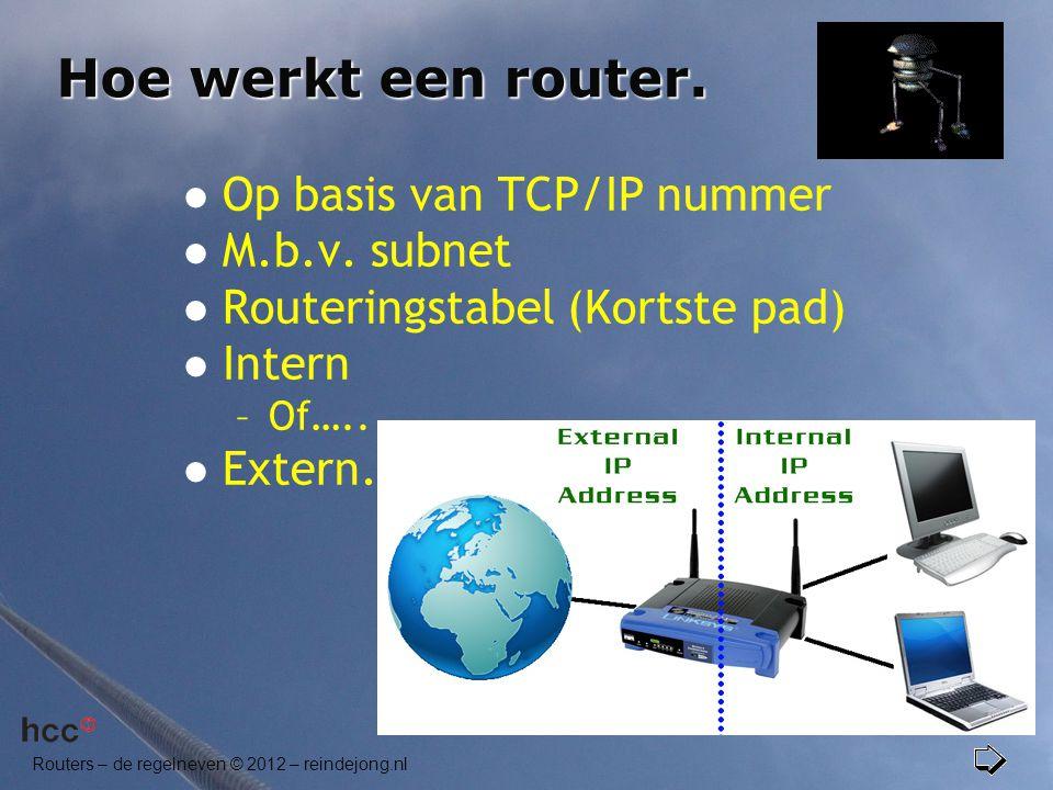 Routers – de regelneven © 2012 – reindejong.nl Hoe werkt een router.  Op basis van TCP/IP nummer  M.b.v. subnet  Routeringstabel (Kortste pad)  In