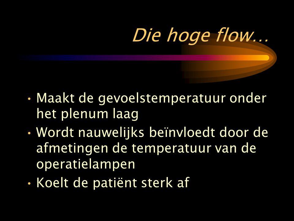 Die hoge flow… •Maakt de gevoelstemperatuur onder het plenum laag •Wordt nauwelijks beïnvloedt door de afmetingen de temperatuur van de operatielampen •Koelt de patiënt sterk af