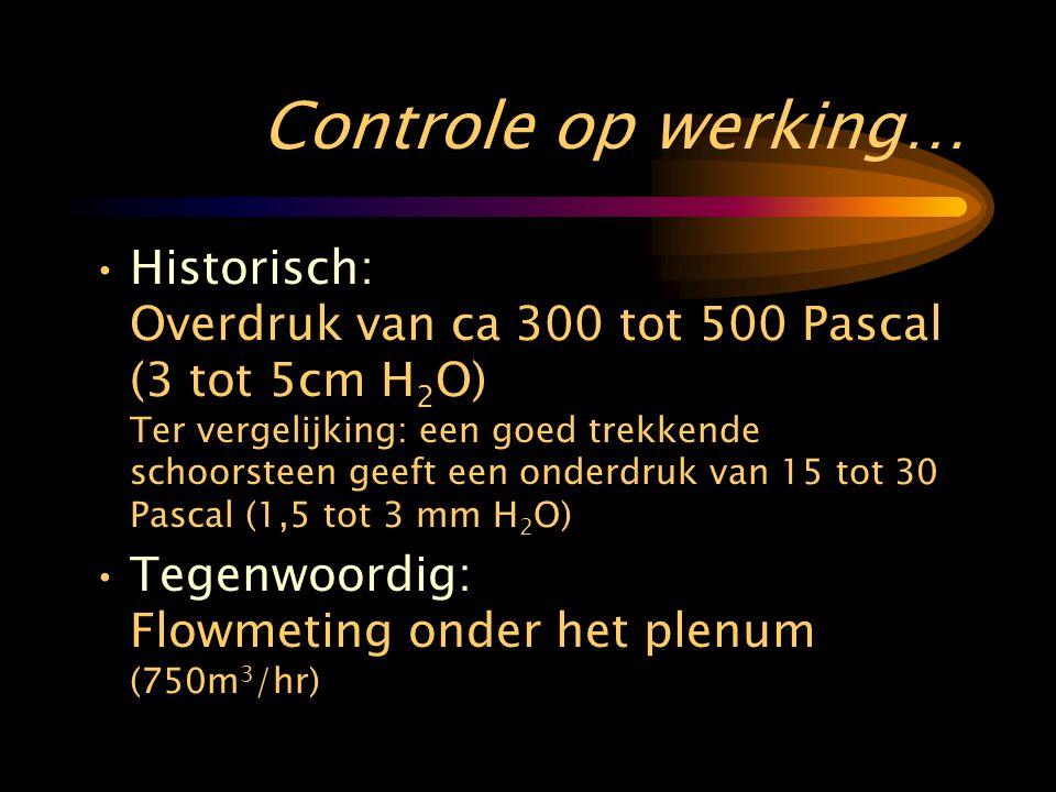 Controle op werking… •Historisch: Overdruk van ca 300 tot 500 Pascal (3 tot 5cm H 2 O) Ter vergelijking: een goed trekkende schoorsteen geeft een onderdruk van 15 tot 30 Pascal (1,5 tot 3 mm H 2 O) •Tegenwoordig: Flowmeting onder het plenum (750m 3 /hr)