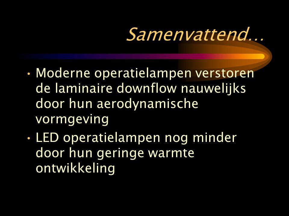 Samenvattend… •Moderne operatielampen verstoren de laminaire downflow nauwelijks door hun aerodynamische vormgeving •LED operatielampen nog minder door hun geringe warmte ontwikkeling