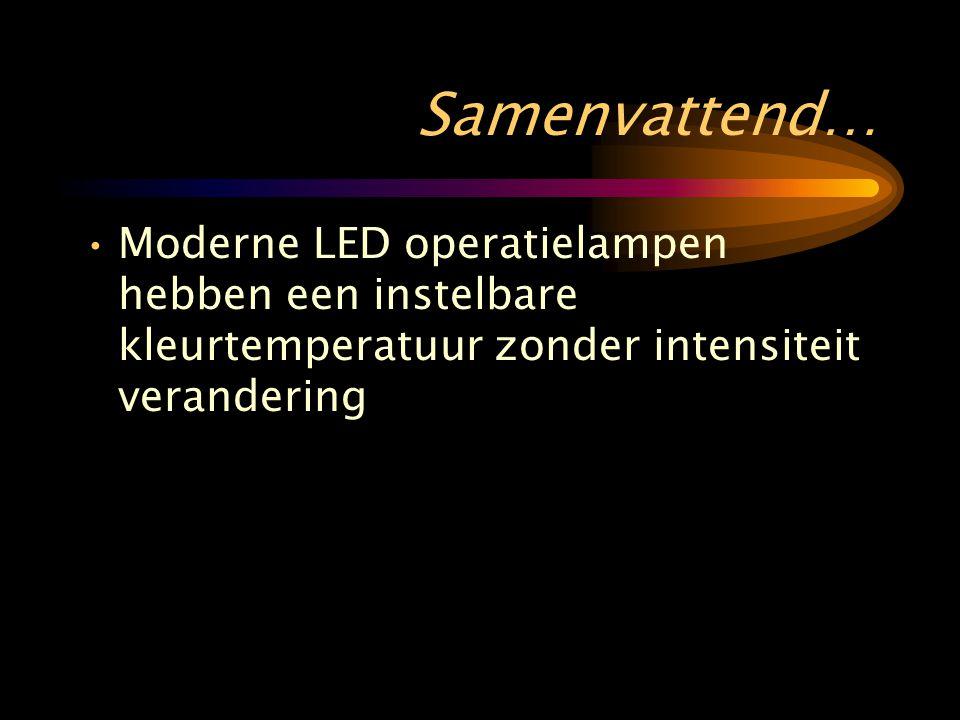 Samenvattend… •Moderne LED operatielampen hebben een instelbare kleurtemperatuur zonder intensiteit verandering