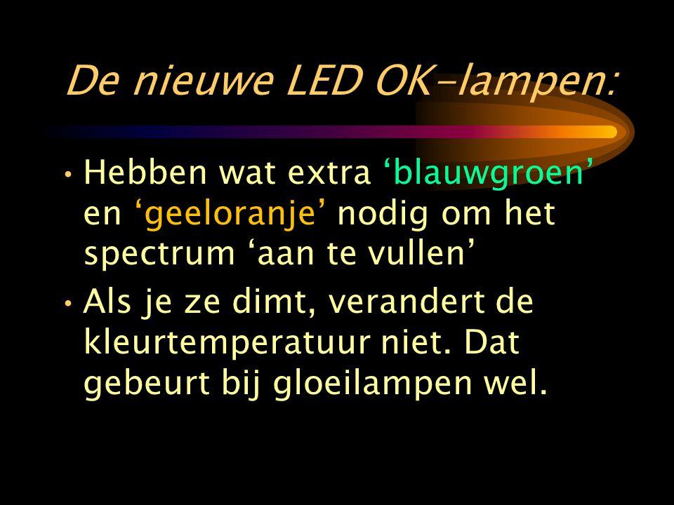 De nieuwe LED OK-lampen: •Hebben wat extra 'blauwgroen' en 'geeloranje' nodig om het spectrum 'aan te vullen' •Als je ze dimt, verandert de kleurtemperatuur niet.