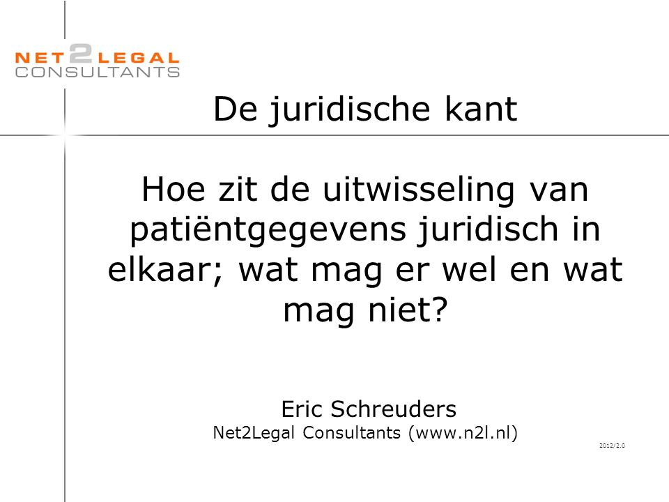 De juridische kant Hoe zit de uitwisseling van patiëntgegevens juridisch in elkaar; wat mag er wel en wat mag niet? Eric Schreuders Net2Legal Consulta