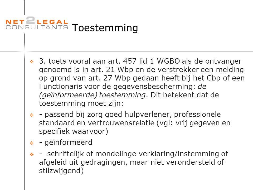 Toestemming  3. toets vooral aan art. 457 lid 1 WGBO als de ontvanger genoemd is in art. 21 Wbp en de verstrekker een melding op grond van art. 27 Wb