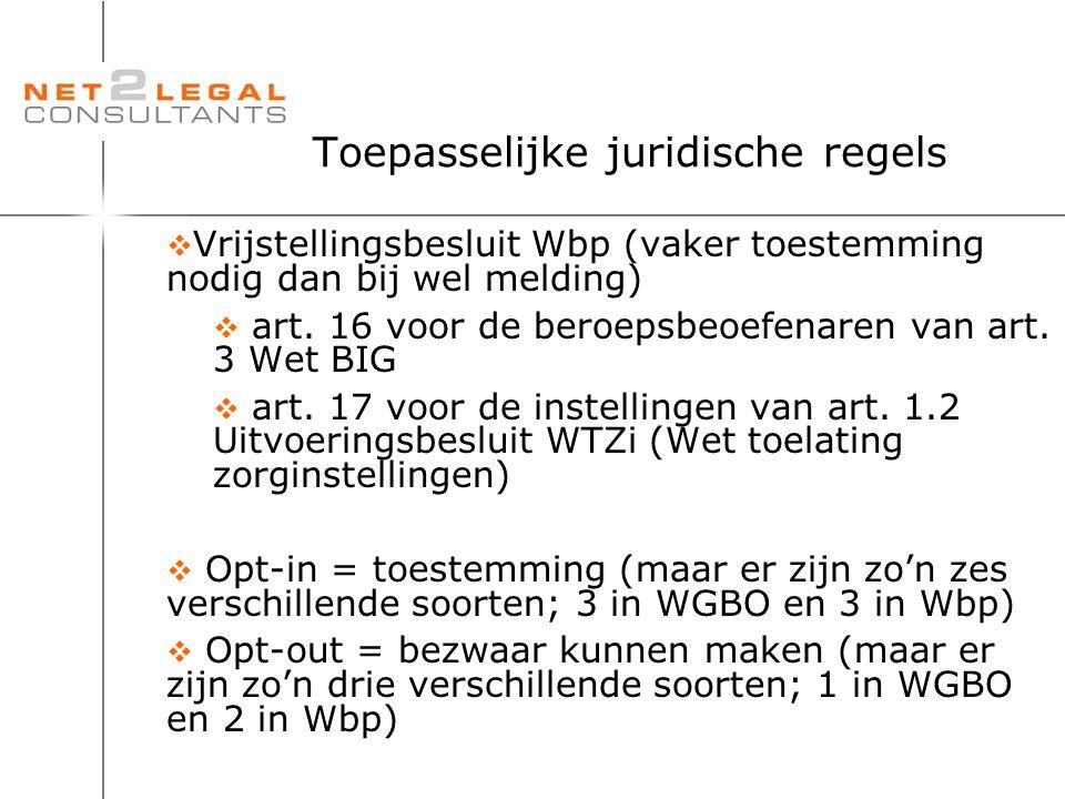 Toepasselijke juridische regels  Vrijstellingsbesluit Wbp (vaker toestemming nodig dan bij wel melding)  art. 16 voor de beroepsbeoefenaren van art.