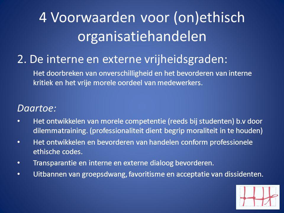 4 Voorwaarden voor (on)ethisch organisatiehandelen 2.