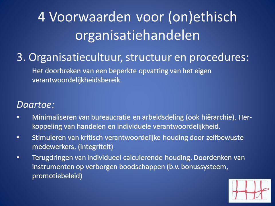 4 Voorwaarden voor (on)ethisch organisatiehandelen 3.