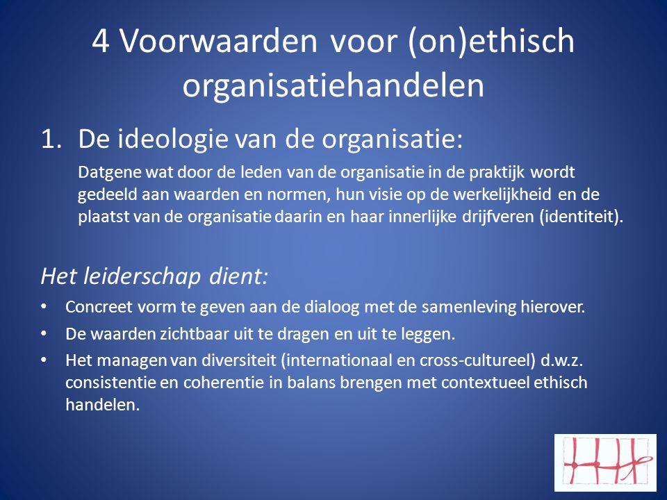 4 Voorwaarden voor (on)ethisch organisatiehandelen 1.De ideologie van de organisatie: Datgene wat door de leden van de organisatie in de praktijk wordt gedeeld aan waarden en normen, hun visie op de werkelijkheid en de plaatst van de organisatie daarin en haar innerlijke drijfveren (identiteit).