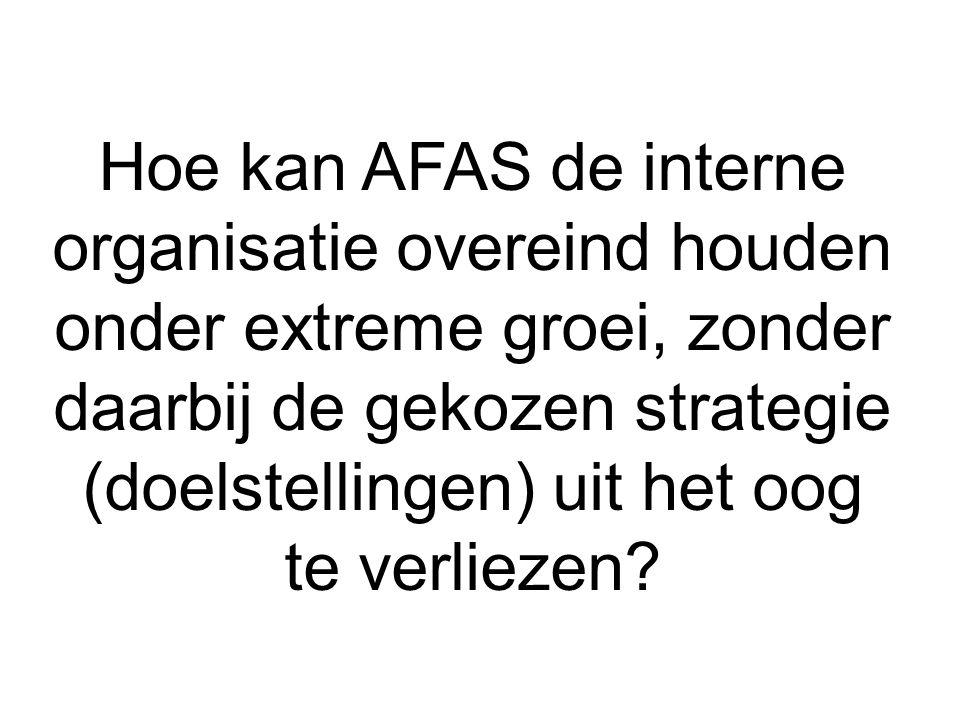 Hoe kan AFAS de interne organisatie overeind houden onder extreme groei, zonder daarbij de gekozen strategie (doelstellingen) uit het oog te verliezen
