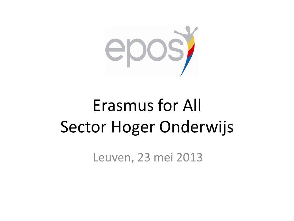 Erasmus for All Sector Hoger Onderwijs Leuven, 23 mei 2013