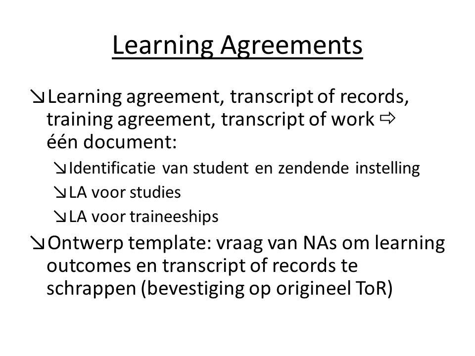 Learning Agreements ↘Learning agreement, transcript of records, training agreement, transcript of work  één document: ↘Identificatie van student en z