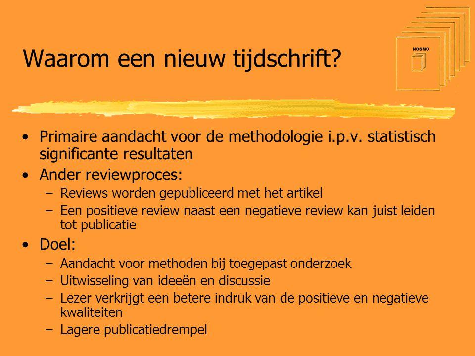 Waarom een nieuw tijdschrift. •Primaire aandacht voor de methodologie i.p.v.