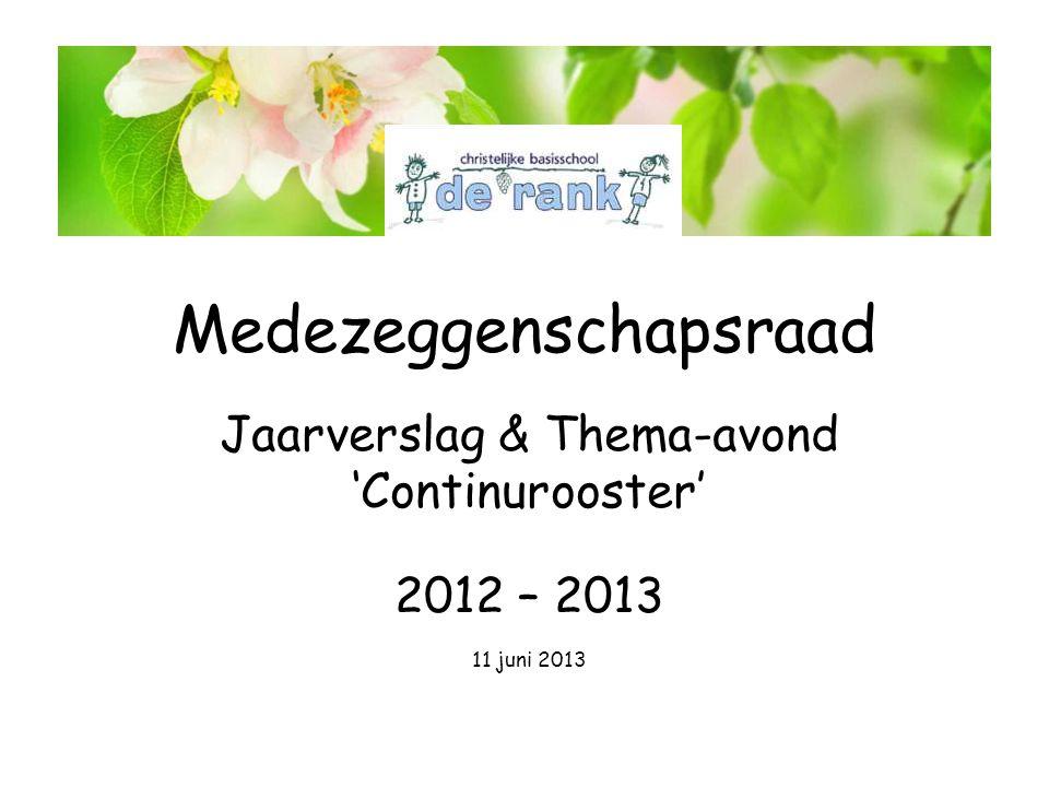 Medezeggenschapsraad Jaarverslag & Thema-avond 'Continurooster' 2012 – 2013 11 juni 2013 De Rank