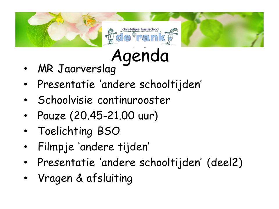 Agenda • MR Jaarverslag • Presentatie 'andere schooltijden' • Schoolvisie continurooster • Pauze (20.45-21.00 uur) • Toelichting BSO • Filmpje 'andere tijden' • Presentatie 'andere schooltijden' (deel2) • Vragen & afsluiting MR