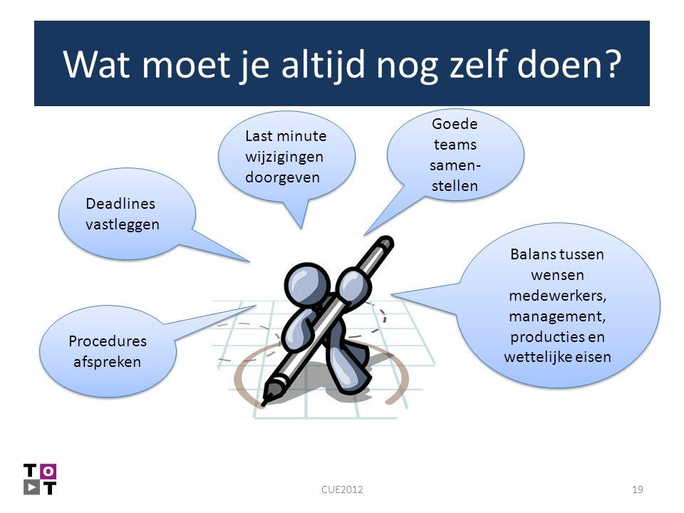 Wat moet je altijd nog zelf doen? 19CUE2012 Balans tussen wensen medewerkers, management, producties en wettelijke eisen Last minute wijzigingen doorg