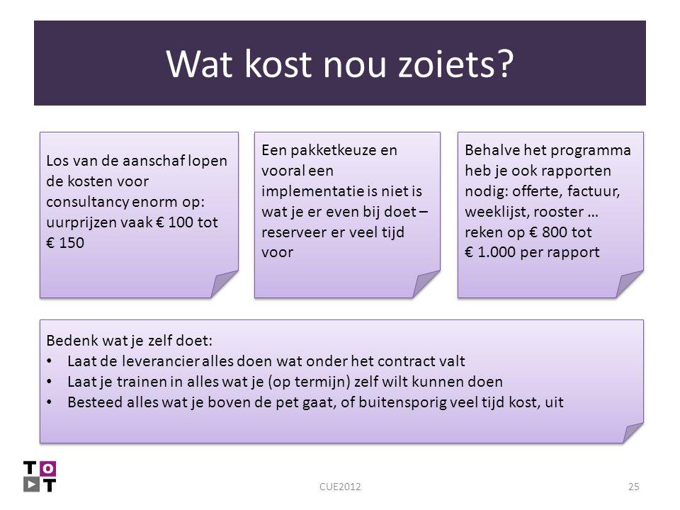 Wat kost nou zoiets? CUE201225 Behalve het programma heb je ook rapporten nodig: offerte, factuur, weeklijst, rooster … reken op € 800 tot € 1.000 per