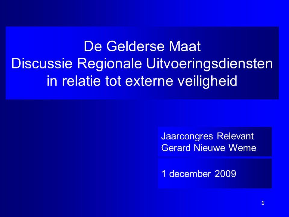 1 1 De Gelderse Maat Discussie Regionale Uitvoeringsdiensten in relatie tot externe veiligheid 1 december 2009 Jaarcongres Relevant Gerard Nieuwe Weme
