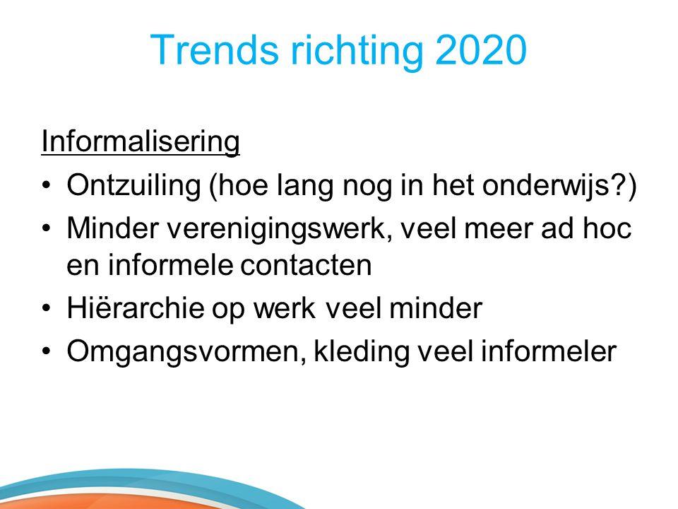 Trends richting 2020 Informalisering •Ontzuiling (hoe lang nog in het onderwijs?) •Minder verenigingswerk, veel meer ad hoc en informele contacten •Hi