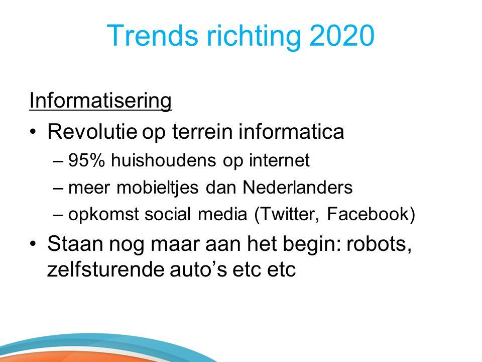 Trends richting 2020 Informatisering •Revolutie op terrein informatica –95% huishoudens op internet –meer mobieltjes dan Nederlanders –opkomst social