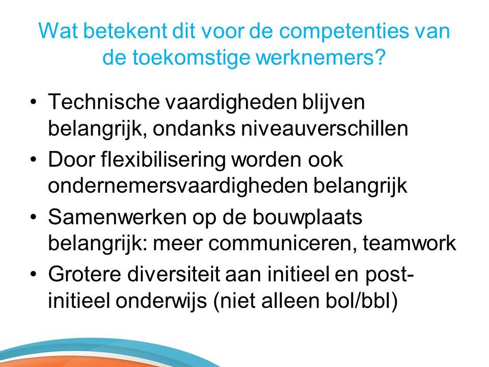 Wat betekent dit voor de competenties van de toekomstige werknemers? •Technische vaardigheden blijven belangrijk, ondanks niveauverschillen •Door flex