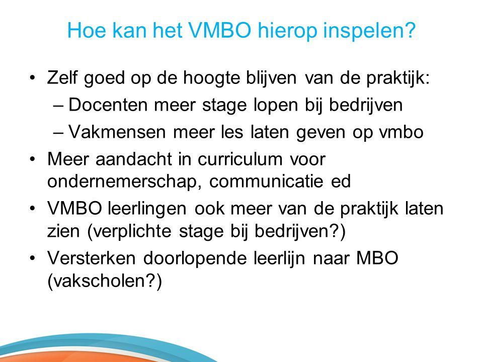 Hoe kan het VMBO hierop inspelen? •Zelf goed op de hoogte blijven van de praktijk: –Docenten meer stage lopen bij bedrijven –Vakmensen meer les laten