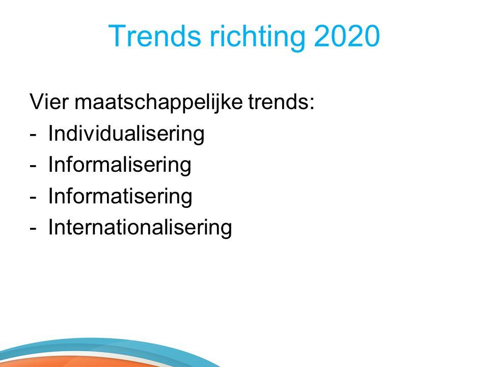 Trends richting 2020 Vier maatschappelijke trends: -Individualisering -Informalisering -Informatisering -Internationalisering