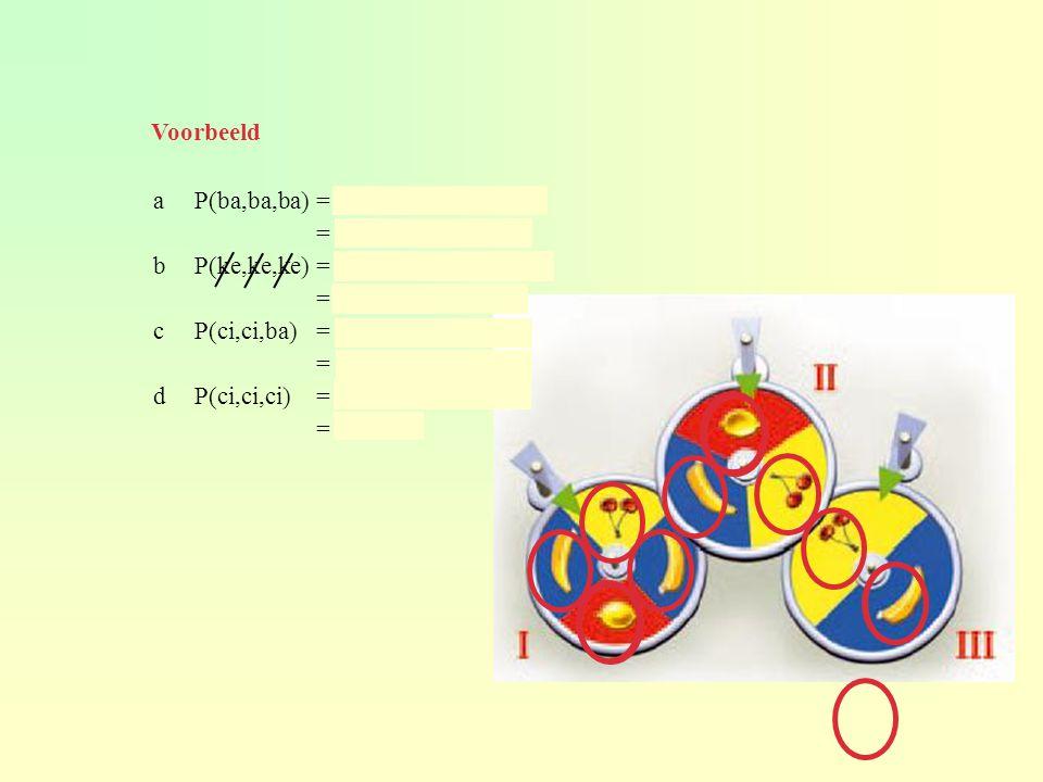 aP(ba,ba,ba) = 2/4 × 1/3 × 1/4 = 2/24 ≈ 0,083 bP(ke,ke,ke) = 3/4 × 2/3 × 1/2 = 6/24 = 0,25 cP(ci,ci,ba) = ¼ × 1/3 × 1/2 = 1/24 ≈ 0,042 dP(ci,ci,ci) = 1/4 × 1/3 × 0 = 0 Voorbeeld