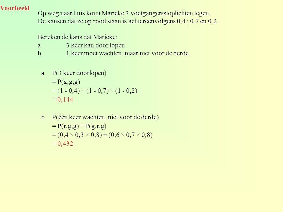 aP(3 keer doorlopen) = P(g,g,g) = (1 - 0,4) × (1 - 0,7) × (1 - 0,2) = 0,144 bP(één keer wachten, niet voor de derde) = P(r,g,g) + P(g,r,g) = (0,4 × 0,3 × 0,8) + (0,6 × 0,7 × 0,8) = 0,432 Voorbeeld Op weg naar huis komt Marieke 3 voetgangersstoplichten tegen.