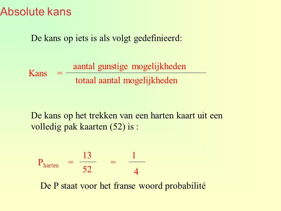 Absolute kans De kans op iets is als volgt gedefinieerd: aantal gunstige mogelijkheden totaal aantal mogelijkheden Kans = De kans op het trekken van een harten kaart uit een volledig pak kaarten (52) is : 13 52 P harten = 1 4 = De P staat voor het franse woord probabilité