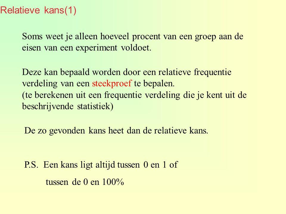 Relatieve kans(2) We nemen steekproeven omdat het niet mogelijk is om alle elementen van een groep te onderzoeken.