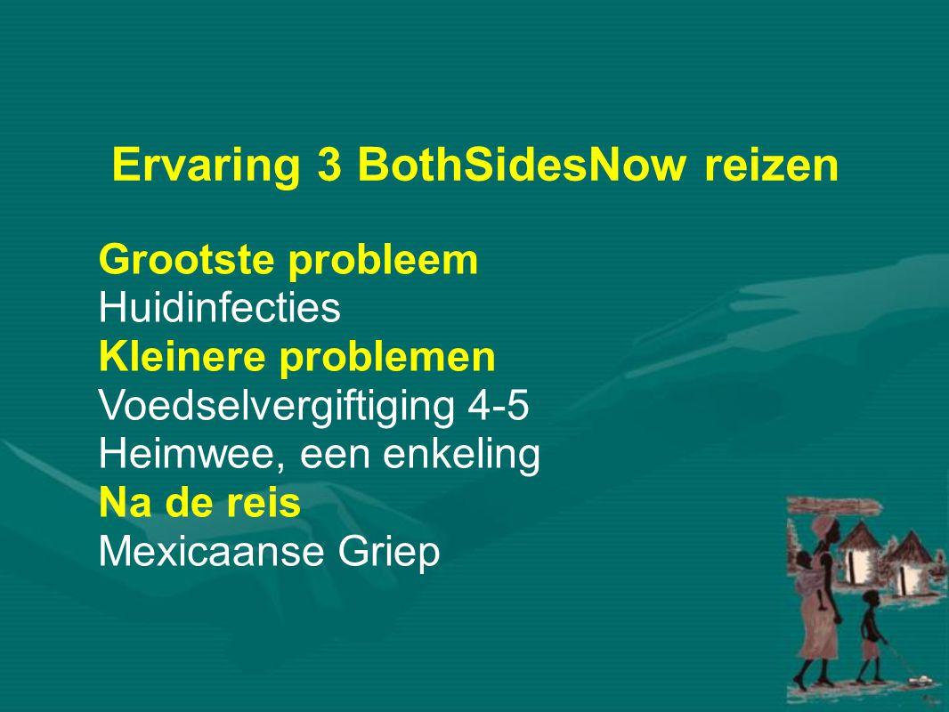 Ervaring 3 BothSidesNow reizen Grootste probleem Huidinfecties Kleinere problemen Voedselvergiftiging 4-5 Heimwee, een enkeling Na de reis Mexicaanse Griep