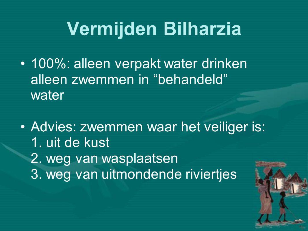Vermijden Bilharzia •100%: alleen verpakt water drinken alleen zwemmen in behandeld water •Advies: zwemmen waar het veiliger is: 1.