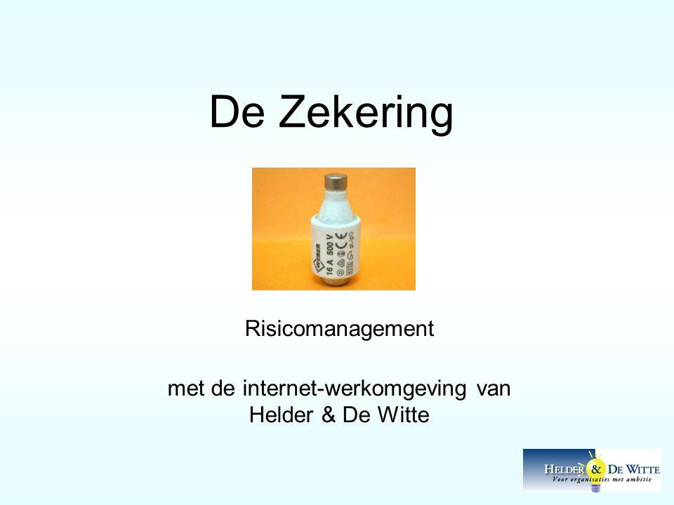 De Zekering Risicomanagement met de internet-werkomgeving van Helder & De Witte
