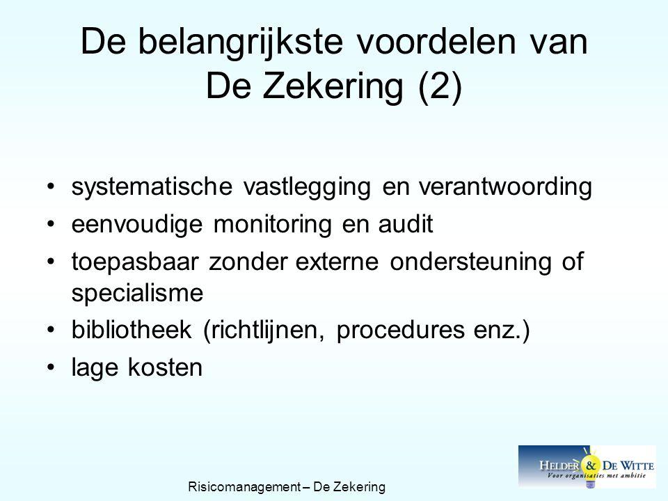 De belangrijkste voordelen van De Zekering (2) •systematische vastlegging en verantwoording •eenvoudige monitoring en audit •toepasbaar zonder externe