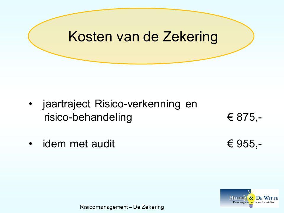 Kosten van de Zekering •jaartraject Risico-verkenning en risico-behandeling€ 875,- •idem met audit€ 955,- Risicomanagement – De Zekering