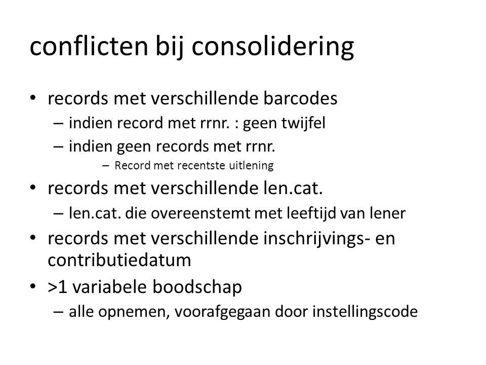 conflicten bij consolidering • records met verschillende barcodes – indien record met rrnr.